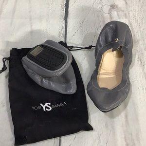 Yosi Samra Grey pointed toe flats